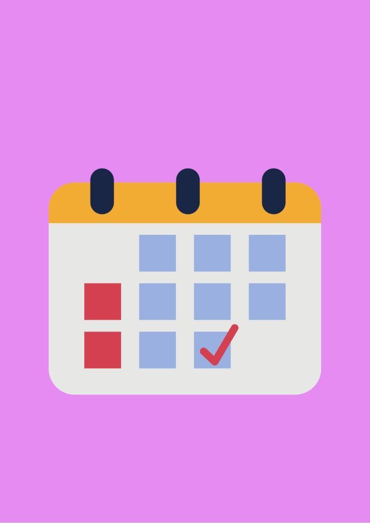 Agenda de reuniões, essa imagem contém o fundo rosa, e uma imagem ilustrativa de um calendário.